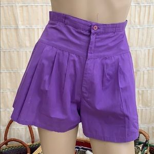 70s Purple BACKSIDER High Rise Flare Shorts